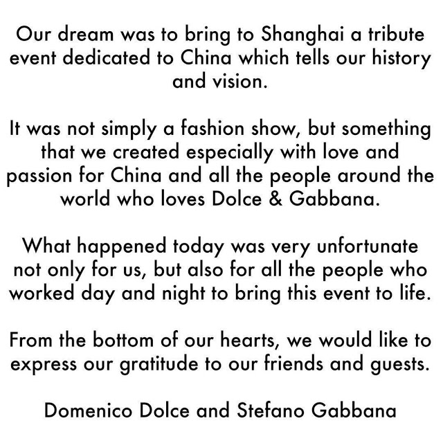 D&G statement on racist comments