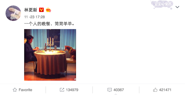 Lin Gengxin thanksgiving with dog
