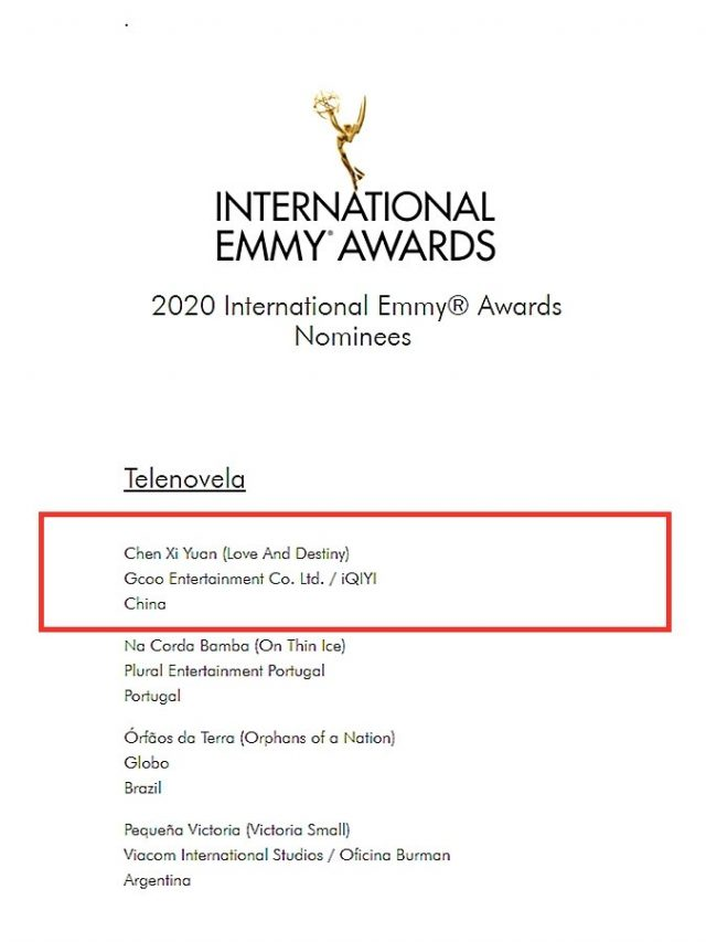 Love and Destiny Nominated for Best TV Series in the 2020 International Emmy Awards